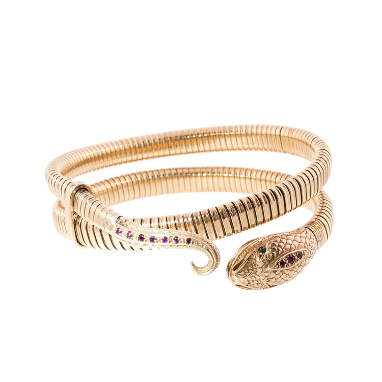 A Vintage Ruby and Gold Snake Bracelet