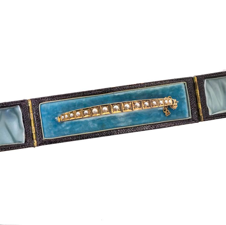 """Antique: Victorian Gold & Pearl """"Half Hoop"""" Bangle Bracelet"""