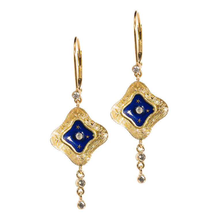 Vintage Drop Blue, Gold and Diamond Earrings with Moon and Stars