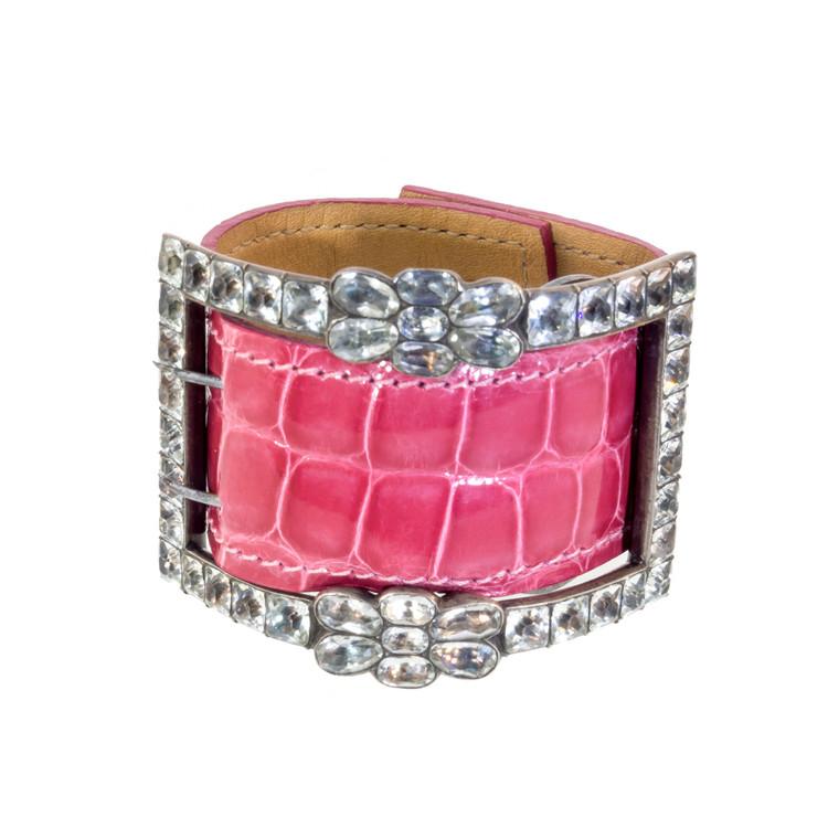 Antique Paste Buckle on Pink Alligator Cuff Bracelet
