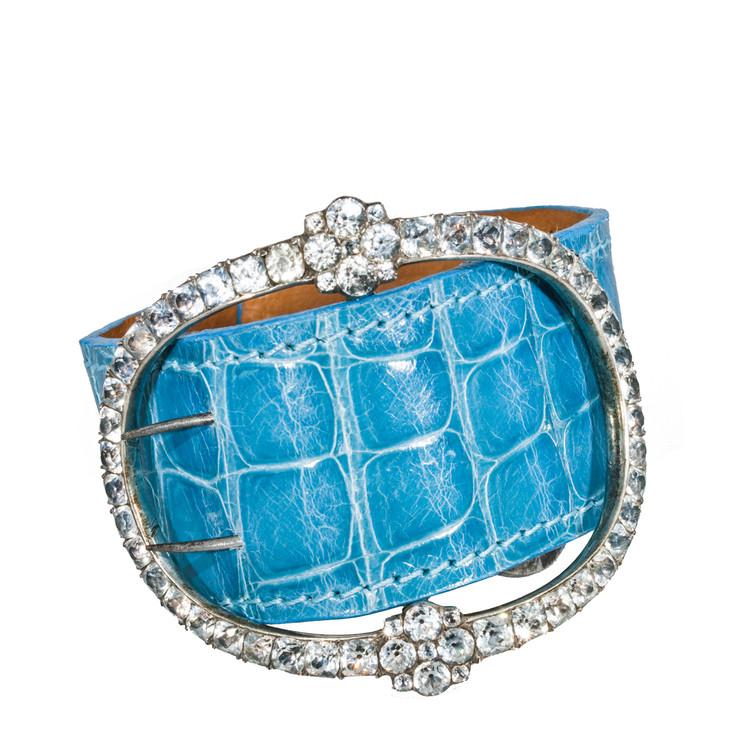 Georgian Paste Buckle on Blue Alligator Cuff