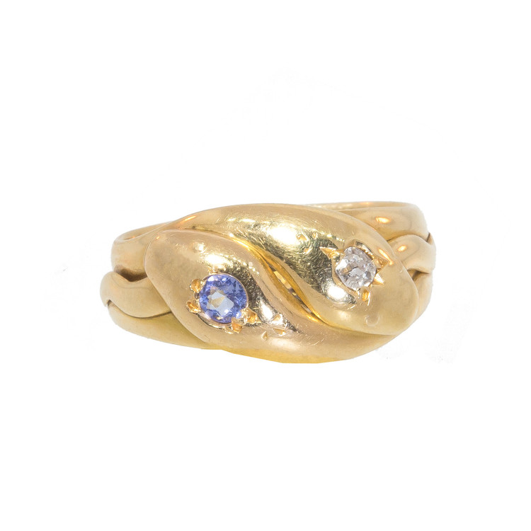 Antique: Victorian Gold Snake Ring, Diamond and Sapphire in 18 ct Gold (Hallmarked)