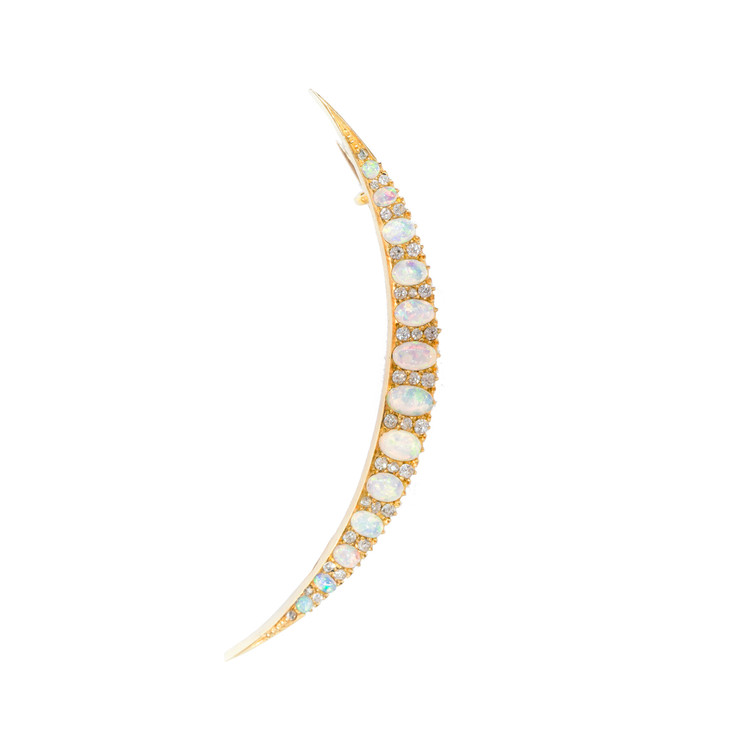 Antique Opal and Diamond Crescent Brooch, Edwardian Period