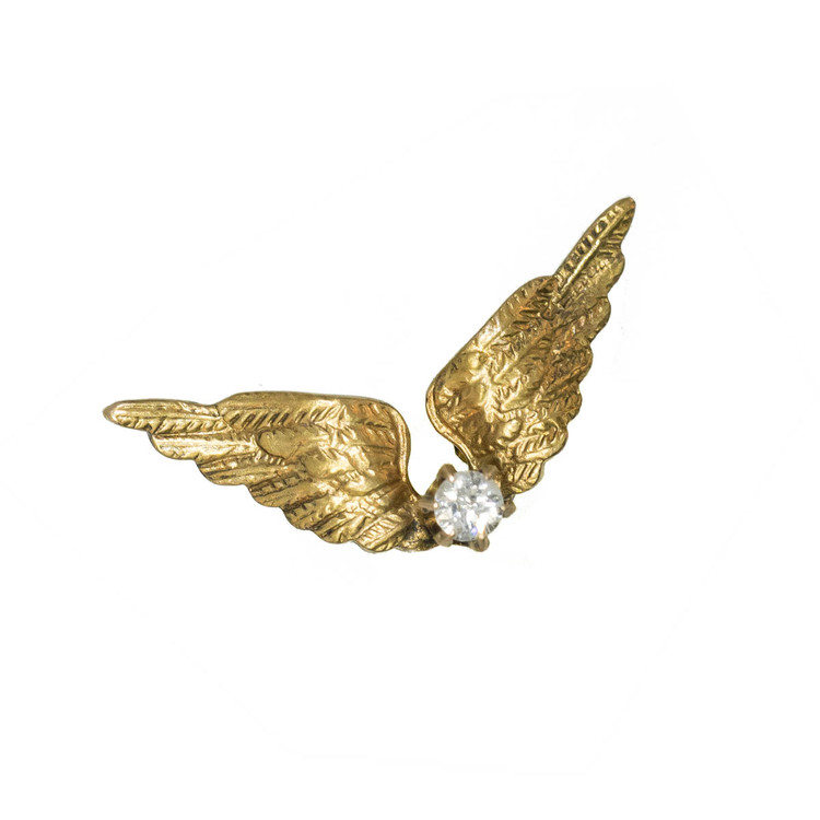 Antique: Single Stud Gold Wings Earring with Diamond