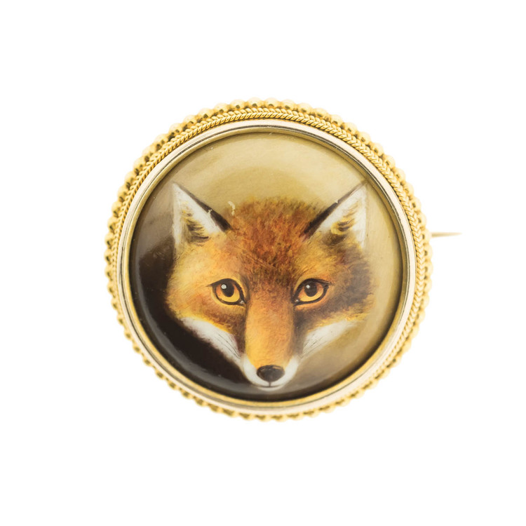Antique Enamel Fox Brooch