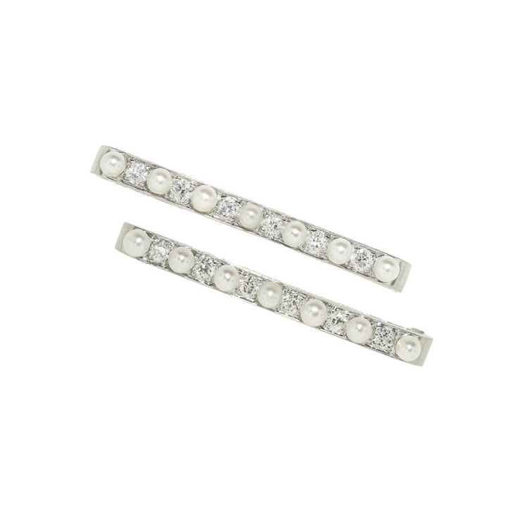 A Pair of Vintage Platinum, Diamond and Pearl Pins