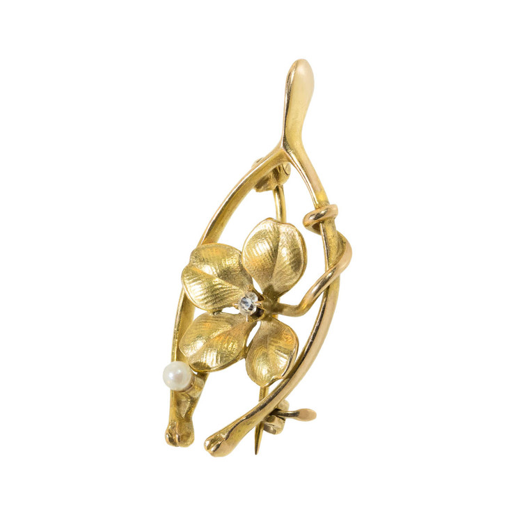 Antique Wishbone Pin in Gold with Diamond & Clover.