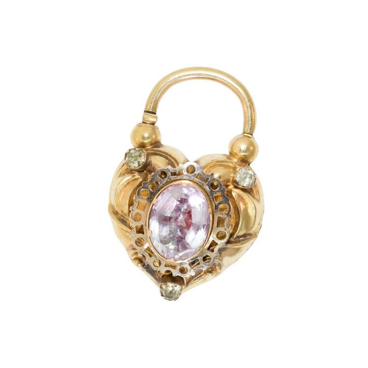 Antique Heart-Shaped Padlock Pendant, Clasp