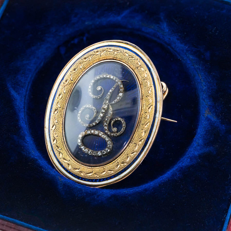 Antique Large Enamel & Diamond Initial R  Brooch, Love Token