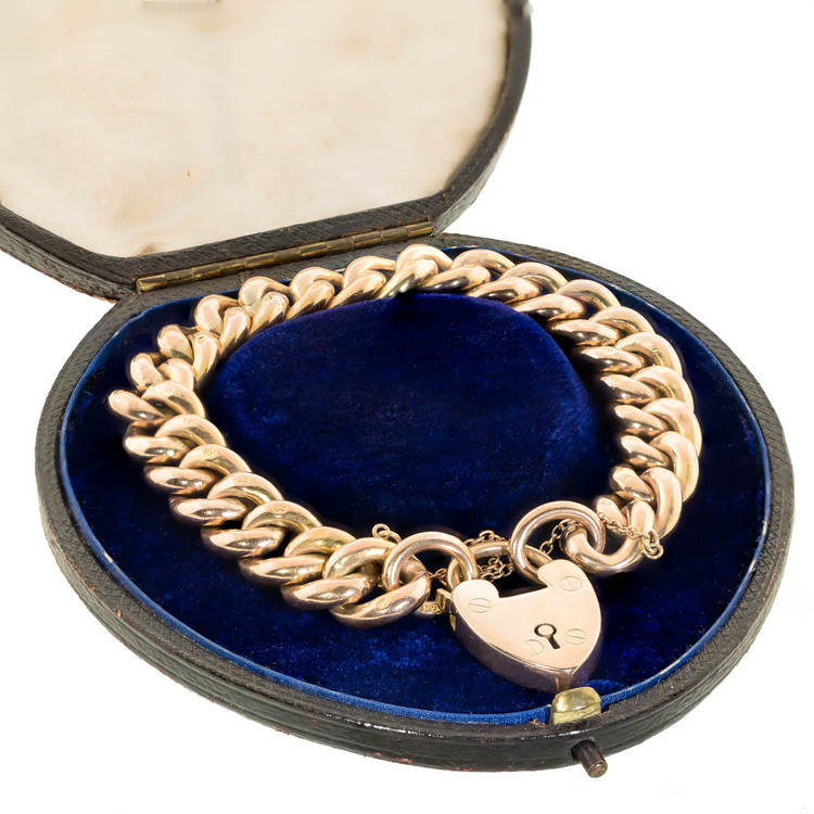 Antique Gold Curb Link with Heart Padlock