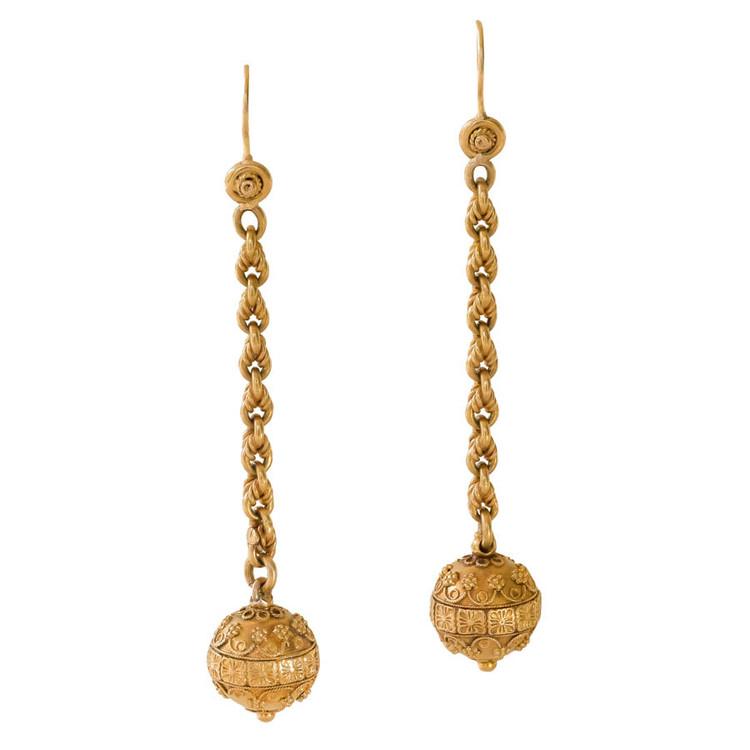 19th Century Etruscan Revival Gold Sphere Earrings