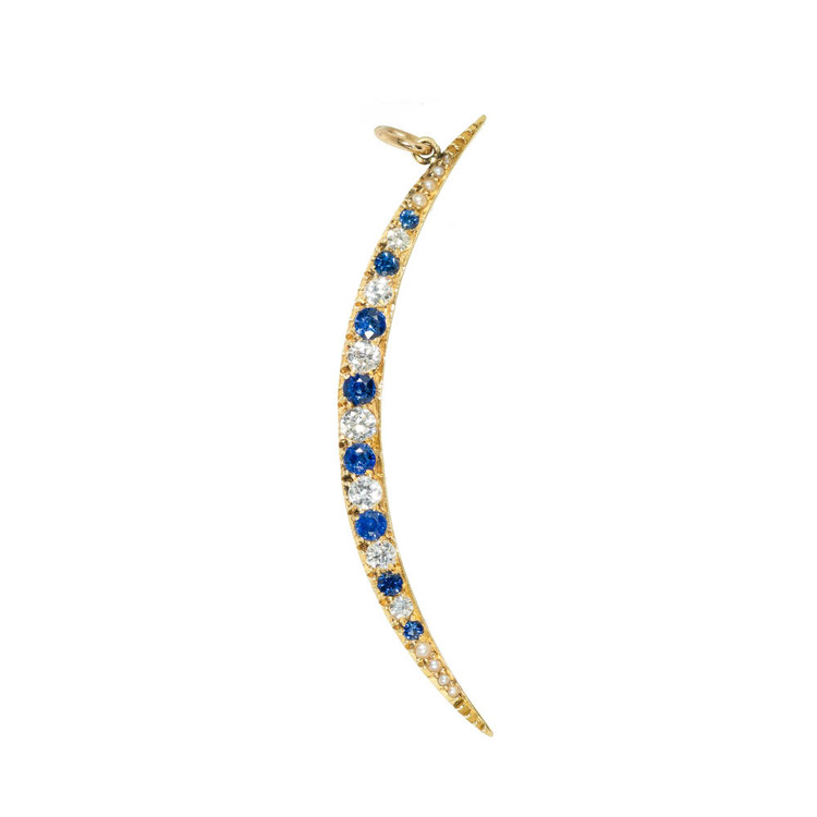 Antique Sapphire & Diamond Crescent Moon Pendant on 14 Ct Gold Chain