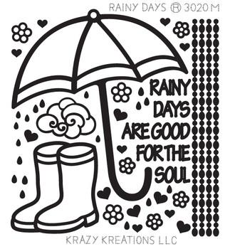 Rainy Days Outline Sticker - Mini