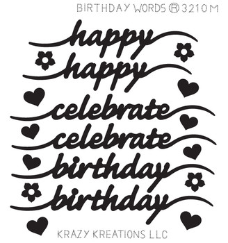 Birthday Words Sticker - Mini
