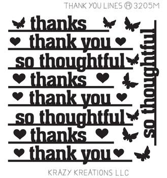 Thank You Lines Sticker - Mini