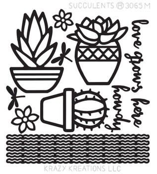 Succulents Outline Sticker - Mini