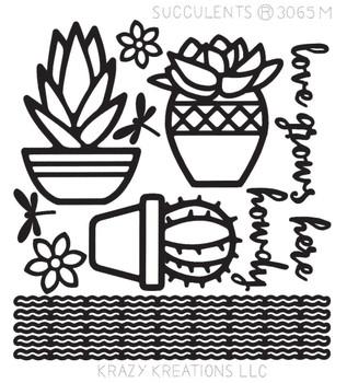 Succulents Outline Sticker - Mini