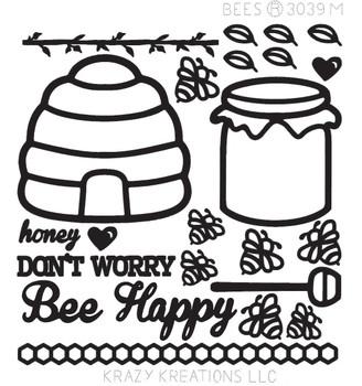 Bees Outline Sticker - Mini