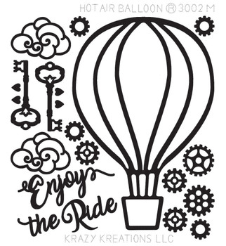Hot Air Balloon Outline Sticker - Mini