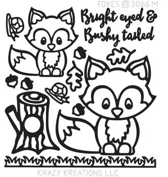 Foxes Outline Sticker - Mini