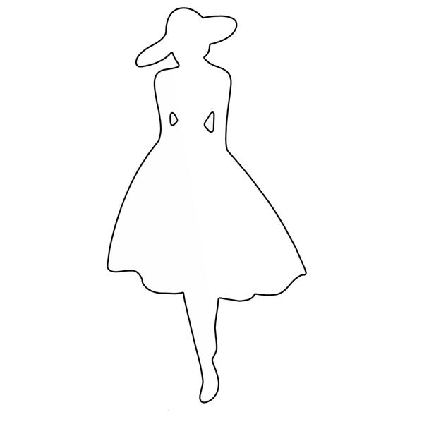 Paper Doll Chipboard Shape, Shopping Girl