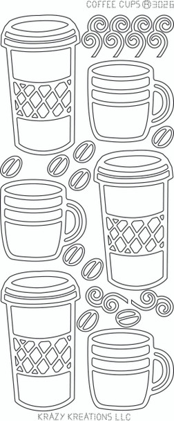 Coffee Cups Outline Sticker