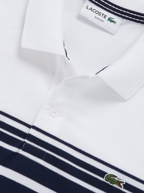 1722af8ebdf Lacoste Slim Fit Colour Block Stripe Polo - White Navy
