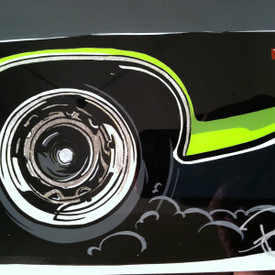 Details of the original painting created by SIN Customs hot rod artist Ryan Curtis - Featuring a 1971 Plymouth Barracuda