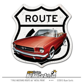 1965 Ford Mustang - Route 66 Road Sign