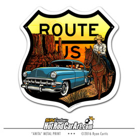 Decorative metal US Route sign, featuring a 1953 Chevrolet Belair and cowboy in a western sunset in Monument Valley.