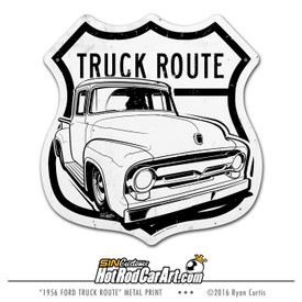 1956 Ford F100 Truck Route - Decorative Metal Sign