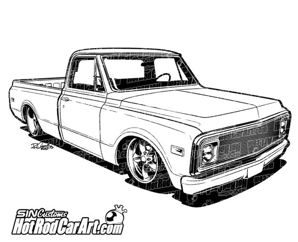 vehicle renderings sin customs hot rod car art f100