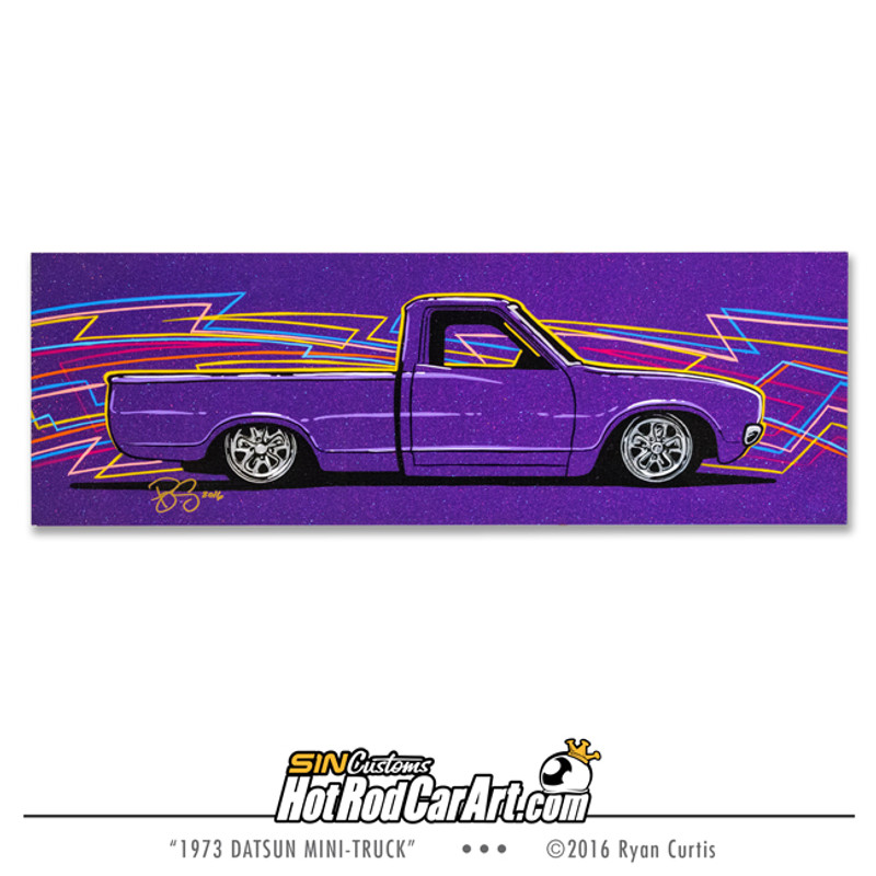 Original Painting created by SIN Customs hot rod artist Ryan Curtis - Featuring a 1973 Datsun mini truck