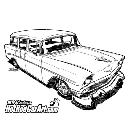 1956 Chevrolet Nomad Hot Rod Car Art
