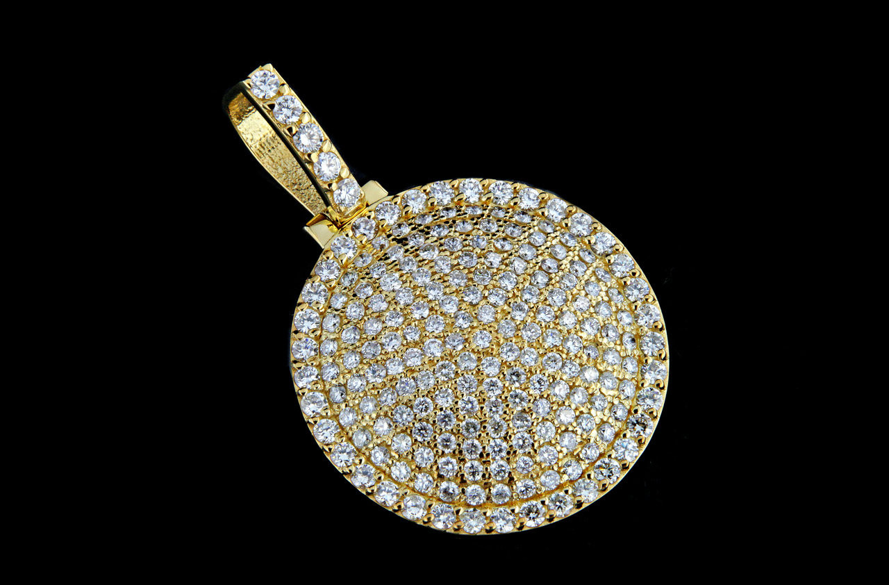 10k gold 360ct custom round iced out pendant king johnny 10k gold 360ct custom round iced out pendant aloadofball Image collections