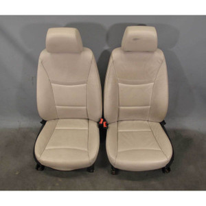 2009-2012 BMW E90 E91 3-Series Factory Front Basic Seat Pair Oyster Leather USED