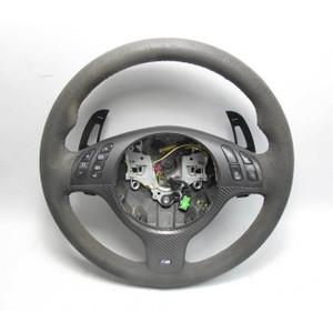 2005-2006 BMW E46 M3 Late Model Alcantara M Sports Steering Wheel w Paddles USED