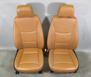 BMW E90 E91 3-Series 4door Factory Front Seat Pair Saddle Brown Leather Heat OEM - 15728