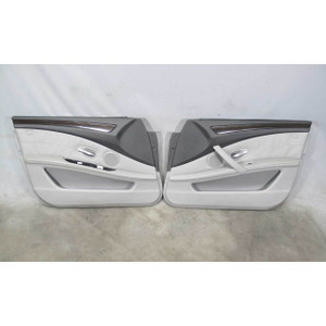 BMW E60 2008-2010 Front Interior Door Panel Skin Trim Pair Grey Leather w Wood - 19518