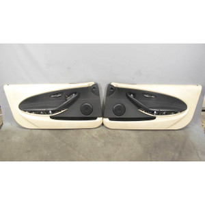 2006-2007 BMW E63 E64 650i Int Door Panel Trim Skin Pair Cream Beige Leather OEM - 19592