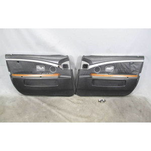 2002-2005 BMW E65 E66 745 Front Inteiror Door Panel Trim Skin Pair Black Leather - 19706