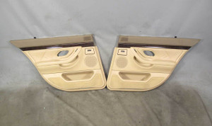1995-2001 BMW E38 740i Short Rear Interior Door Panel Trim Skins Beige Leather - 20444