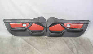 1998-2002 BMW Z3 M Roadster Coupe Interior Door Panel Trim Skin Pair Red Leather - 20624