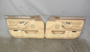 BMW E38 7-Series Factory Front Interior All-Leather Sand Beige Door Panels OEM - 20681