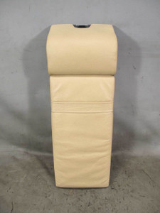 1995-2001 BMW E38 7-Series Rear Center Armrest Sand Beige Leather w Wood Handle - 20724