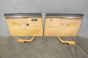 1977 BMW E12 530i Sedan Front Interior door Panel Trim Skin Pair Brown OEM - 20837