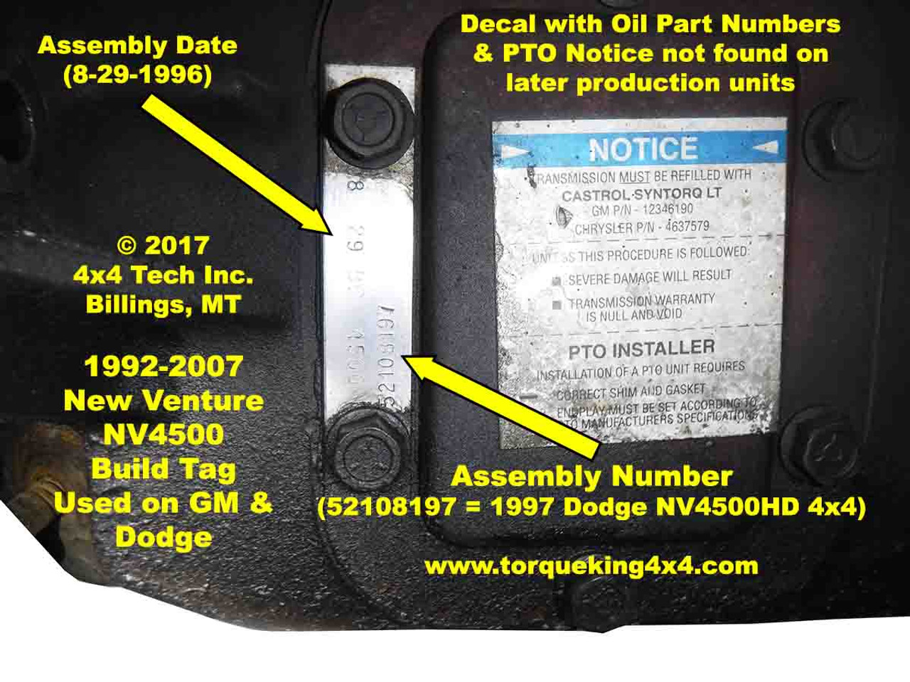 Identifying Nv4500 Transmissions By Build Tag Number 2003 Gmc Transfer Case Identification Info
