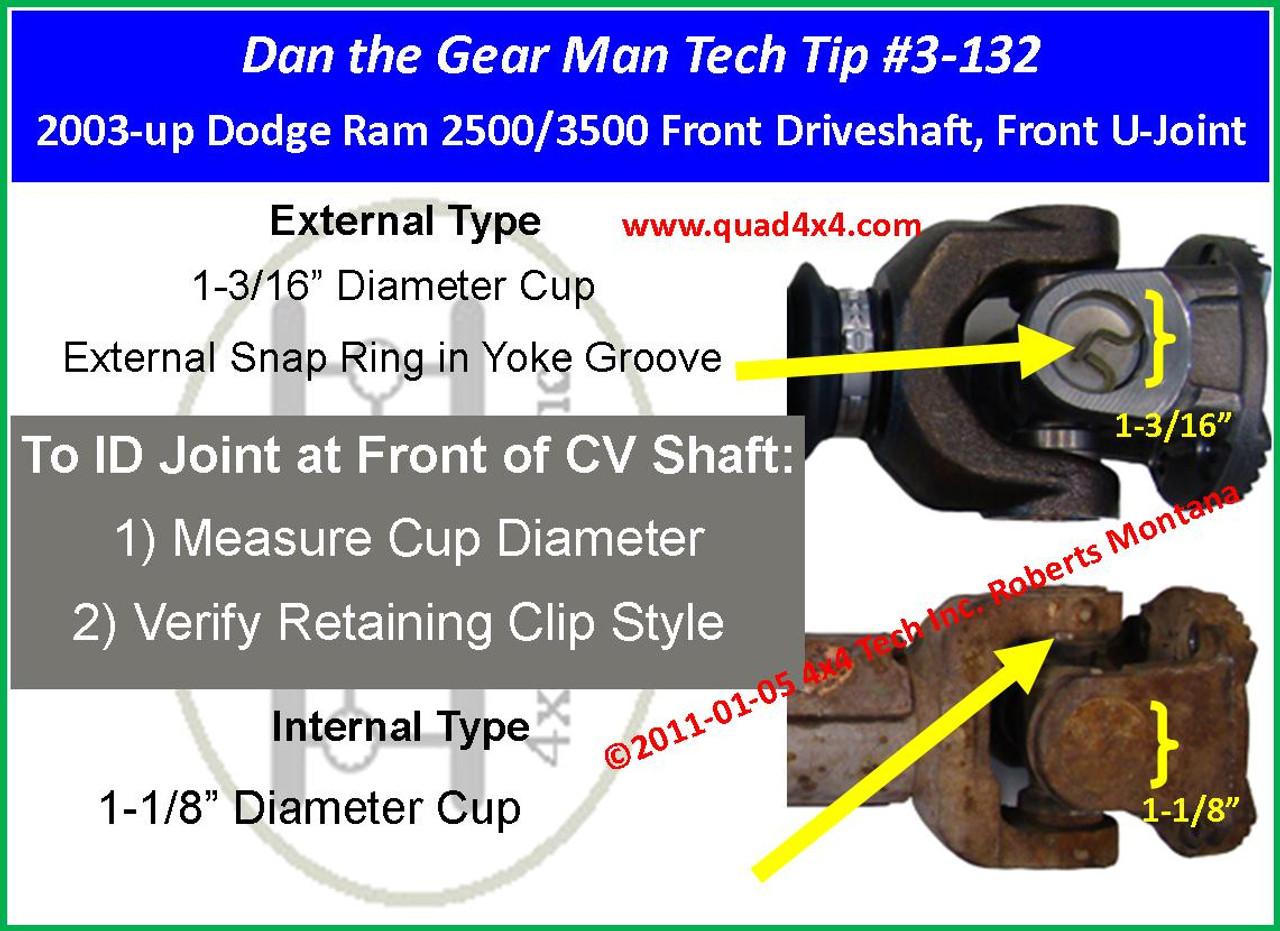 2003 2009 Dodge Ram 2500 Ram 3500 Front Driveshaft U Joint Id