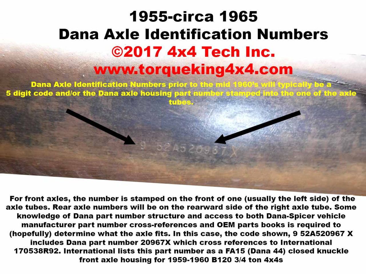 Id A Jeep Dana Axle By Code Or Bom Number 1964 Ford Rear End Codes And Build Tags Idn 130