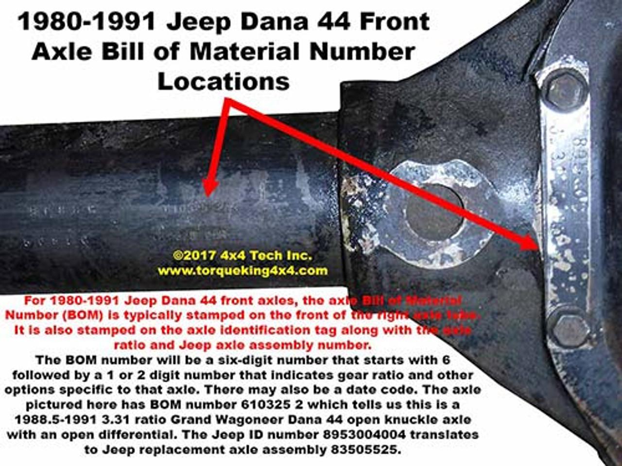 Jeep Dana Front Axle Id on Jeep Manual Transmission Identification